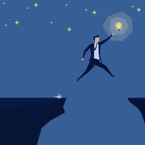 L'uomo d'affari che salta sopra la lacuna raggiunge l'idea nella notte del cielo. vettore