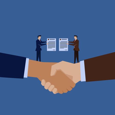 Due uomini d'affari in possesso del contratto sopra la stretta di mano vettore