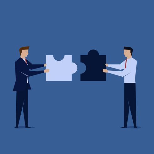 Due uomini d'affari uniscono il puzzle. Simbolo del lavoro di squadra. vettore