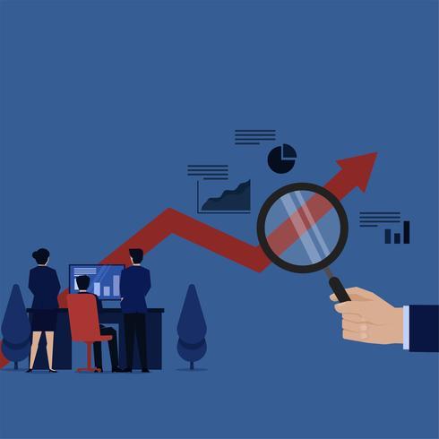Grafico di monitoraggio del gruppo di affari sullo schermo e sulla lente d'ingrandimento della tenuta della mano vettore