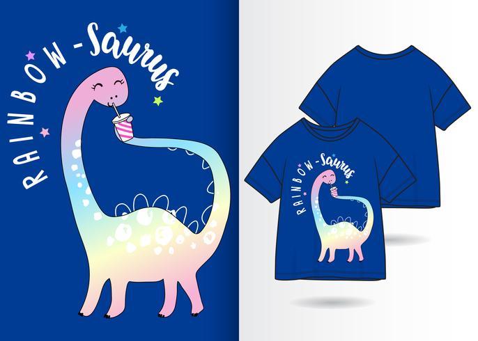 arcobaleno - saurus dinosaur t shirt design vettore