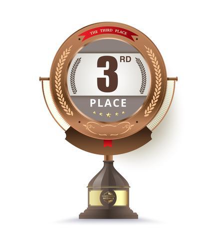 trofeo di bronzo per il terzo posto vettore