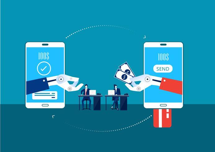 trasferire denaro tramite cellulare con la mano del robot vettore