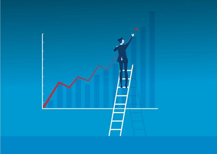 uomo di affari sulla scala che fa crescita diretta sul grafico per il successo vettore