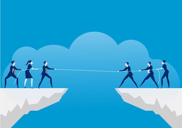 Uomini d'affari tirando la corda sopra il precipizio. Rivalità commerciale e concorrenza su sfondo blu. vettore