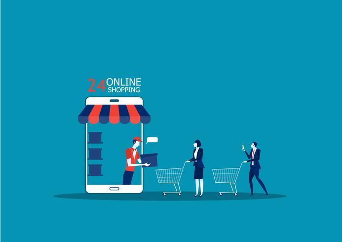 Shopping online e concetto di consegna vettore