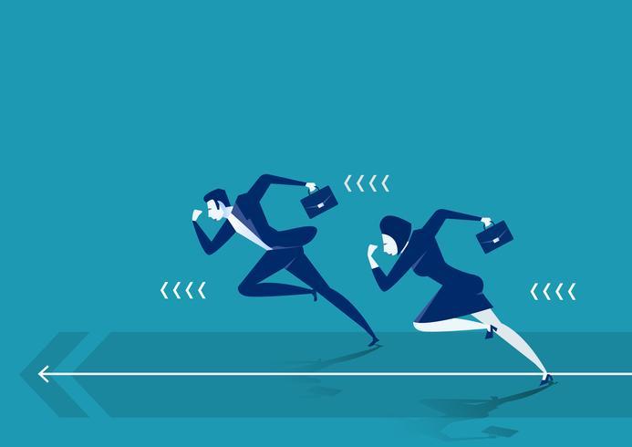 Uomini d'affari che corrono alla concorrenza di affari per l'obiettivo vettore