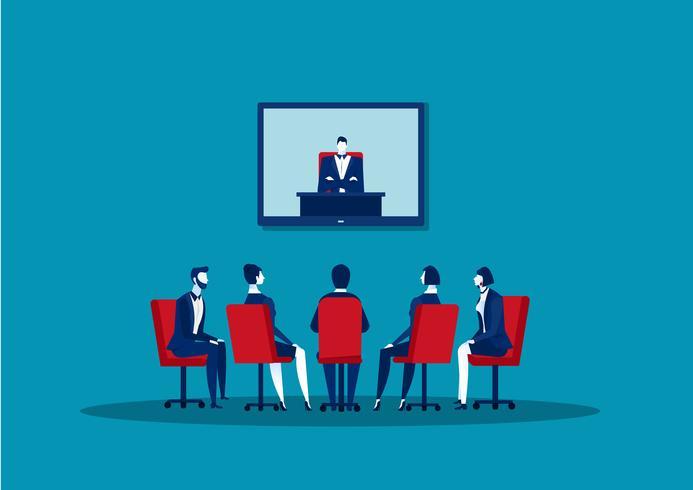 uomini d'affari facendo videoconferenza vettore