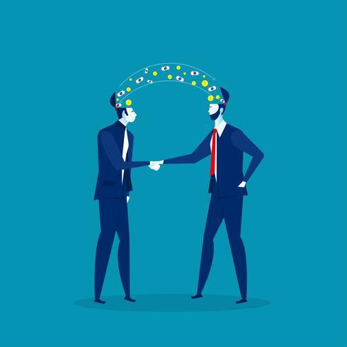 due uomini d'affari condividono idee vettore