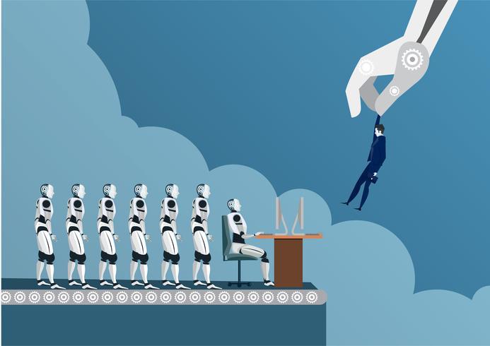 Reclutatore del robot con l'artiglio industriale che sceglie uomo e che seleziona recluta umana vettore