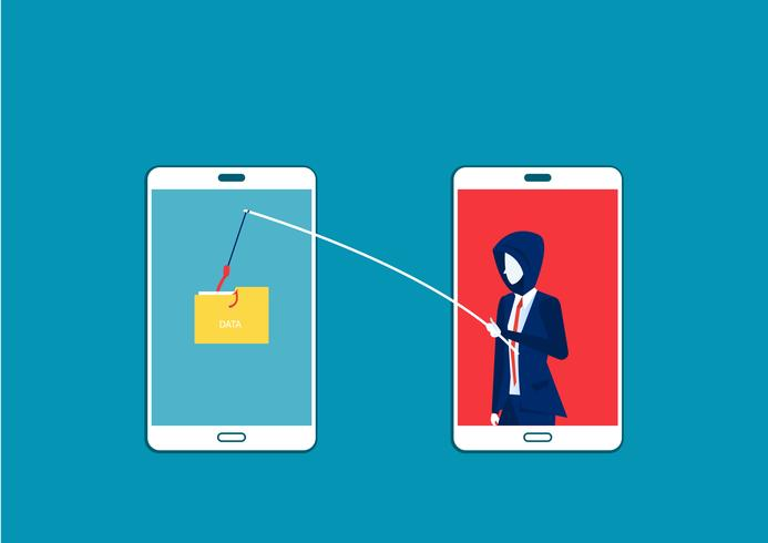 uomo d'affari rubare dati, attacco hacker su smartphone vettore