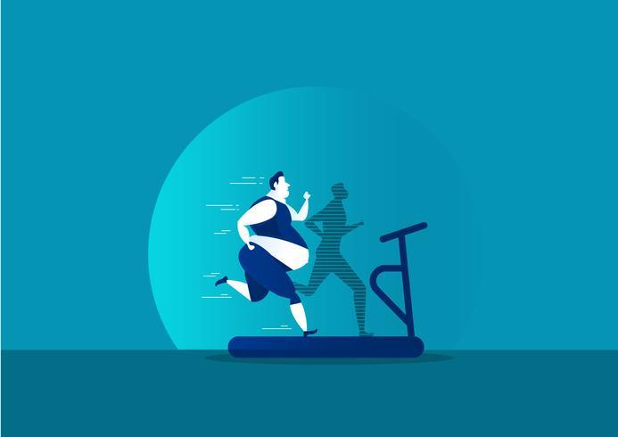 esercizio di uomo con grasso trasformandosi in silhouette sottile vettore