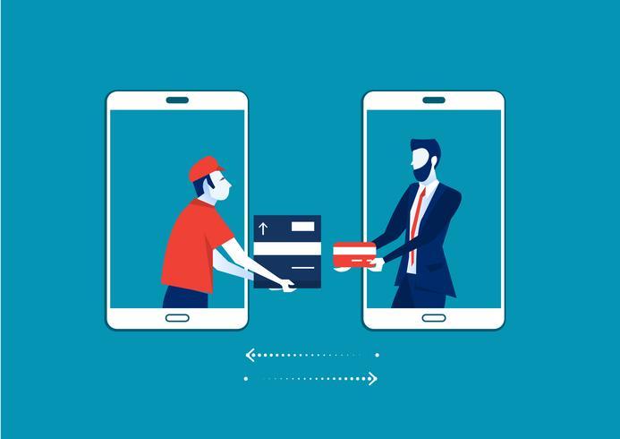 uomo dallo schermo dello smartphone che invia scatola di cartone al cliente che paga con la carta vettore