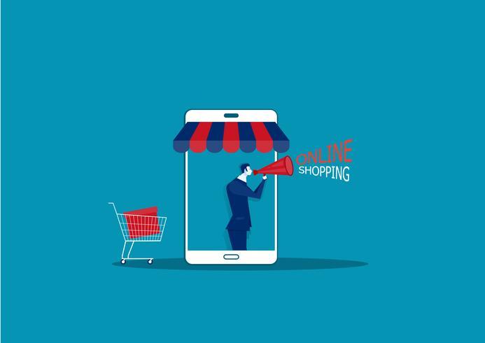 uomo d'affari su smartphone con negozio online E-shop vettore