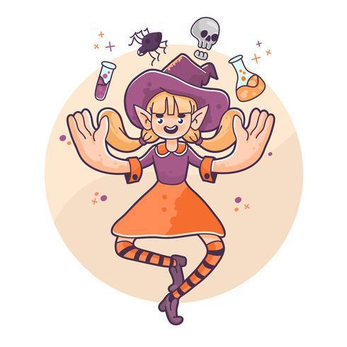 strega di Halloween strega galleggiante ragno, teschio e pozioni illustrazione carino vettore
