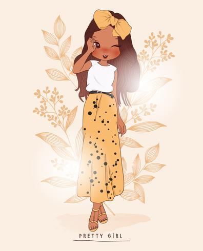Ragazza carina disegnata a mano che indossa gonna lunga con sfondo di fiori vettore