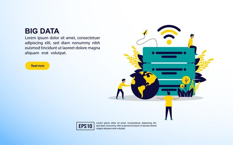 Icone di concetto di grandi quantità di dati vettore