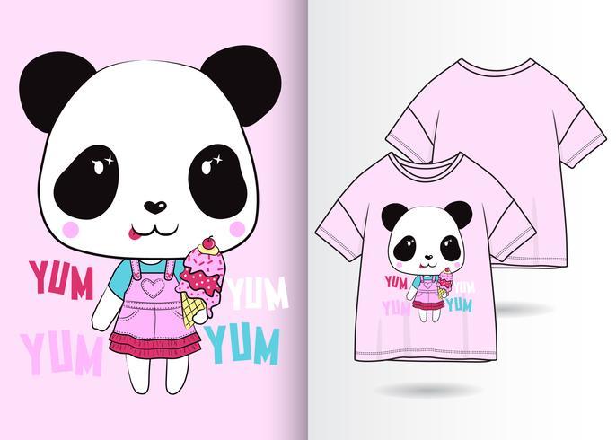 Yum Yum Panda Disegnato a mano T Shirt Design vettore