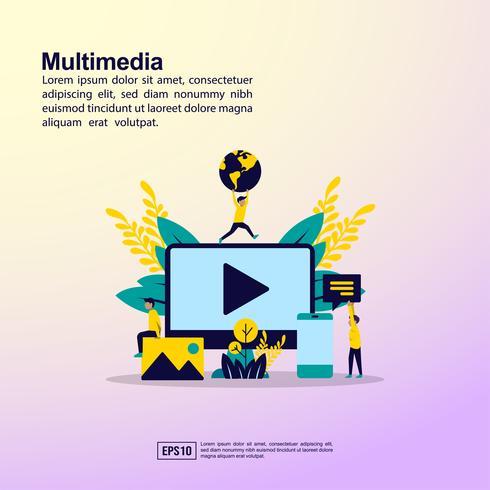 Pagina di destinazione illustrativa multimediale vettore