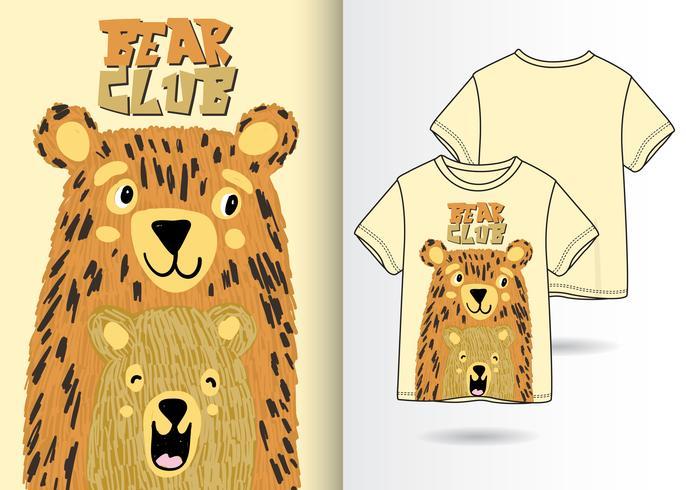 Design per magliette disegnate a mano Bear Club vettore
