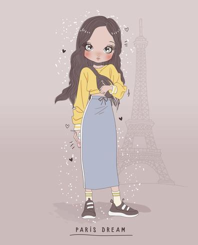 Ragazza carina disegnata a mano che indossa gonna lunga e maglione con sfondo di Parigi vettore