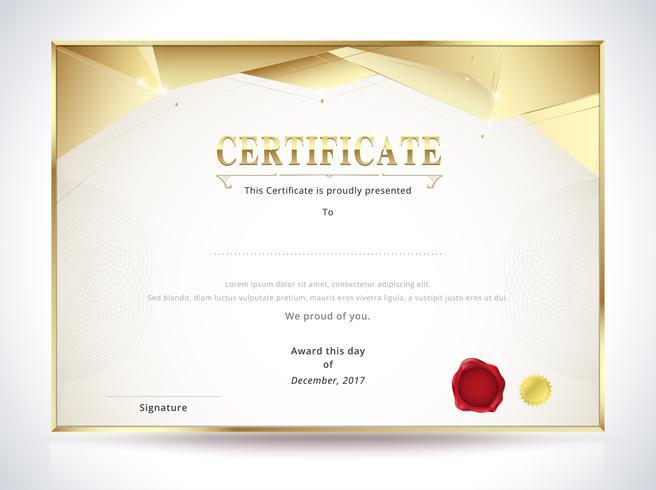 Modello di certificato di diploma d'oro vettore
