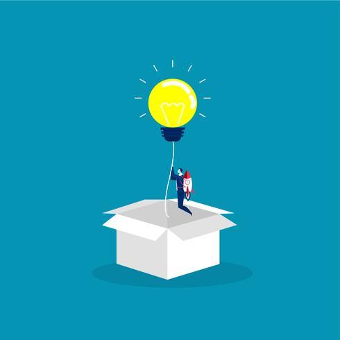 l'uomo d'affari inizia con la lampadina di idea leggera espulsa dalla scatola di cartone vettore