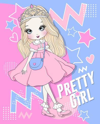 Ragazza carina disegnata a mano che indossa abito rosa e corona con sfondo doodle vettore