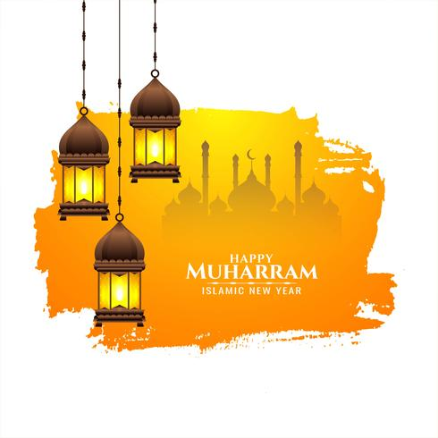 Festival islamico Happy Muharran design vettore