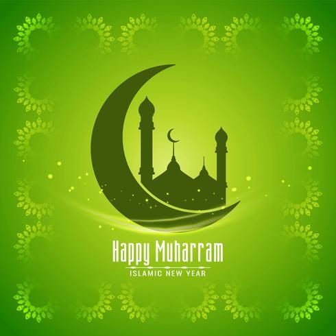 Design verde Muharram di colore verde vettore