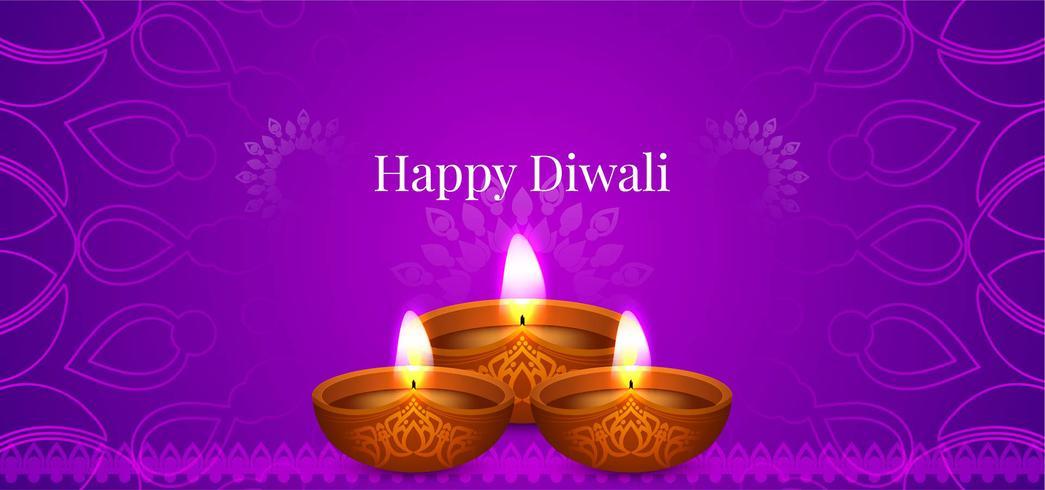 Felice disegno decorativo viola Diwali vettore