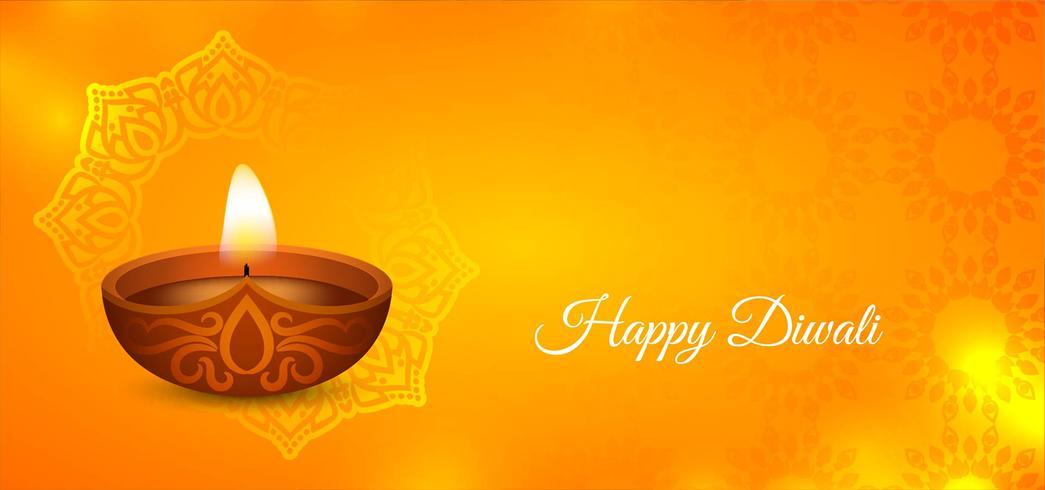 Elegante design di colore giallo Happy Diwali vettore