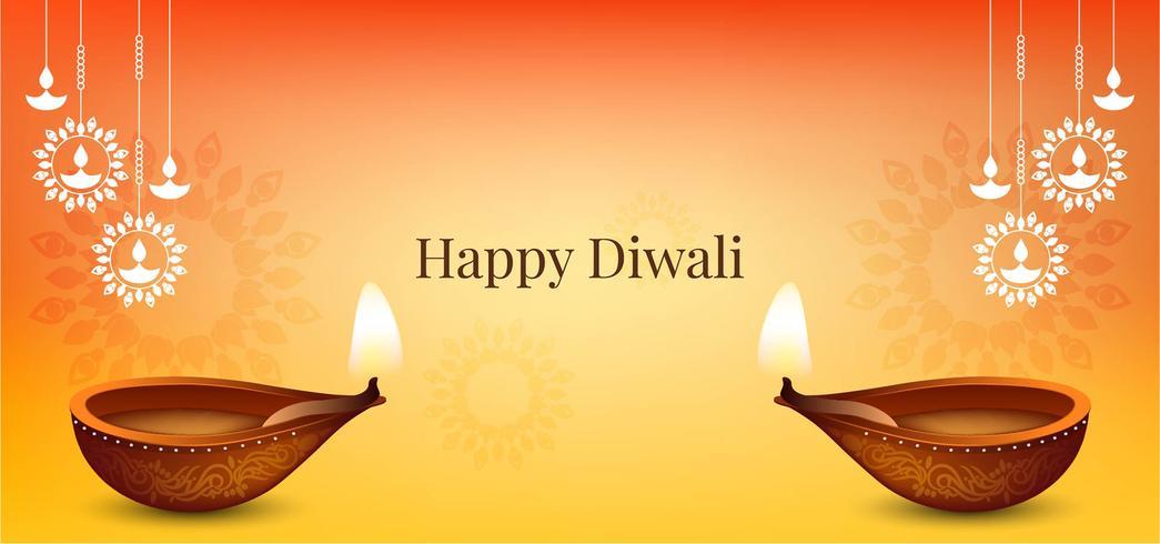 Luminoso ed elegante design Happy Diwali vettore