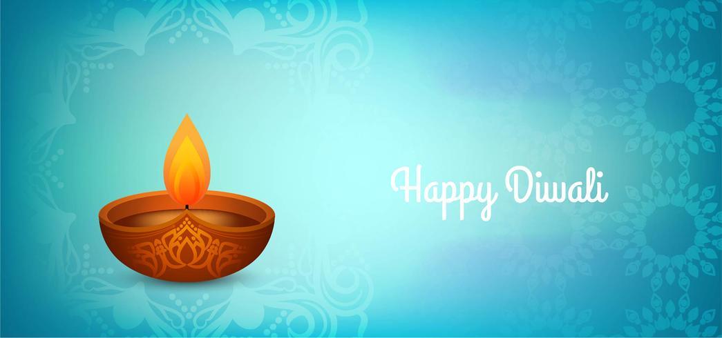Design blu lucido Happy Diwali vettore