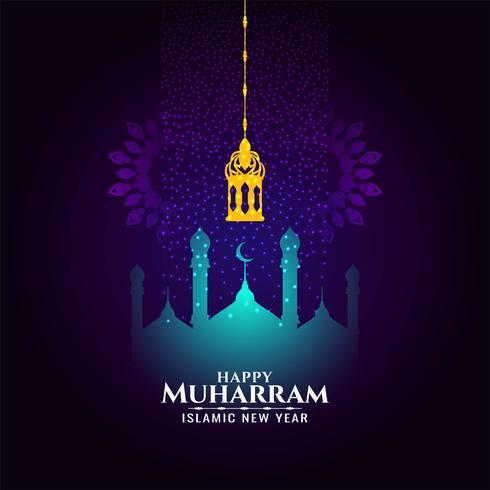 Astratto felice Muharram moderno design viola e blu vettore