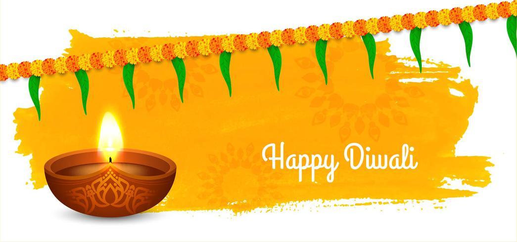 Design moderno Diwali con ghirlanda vettore
