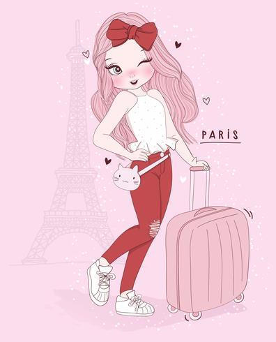 Ragazza carina disegnata a mano con la valigia a Parigi con tipografia vettore