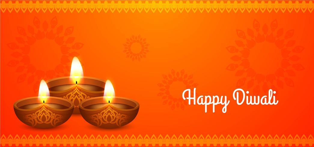 Felice Diwali bellissimo design arancione vettore