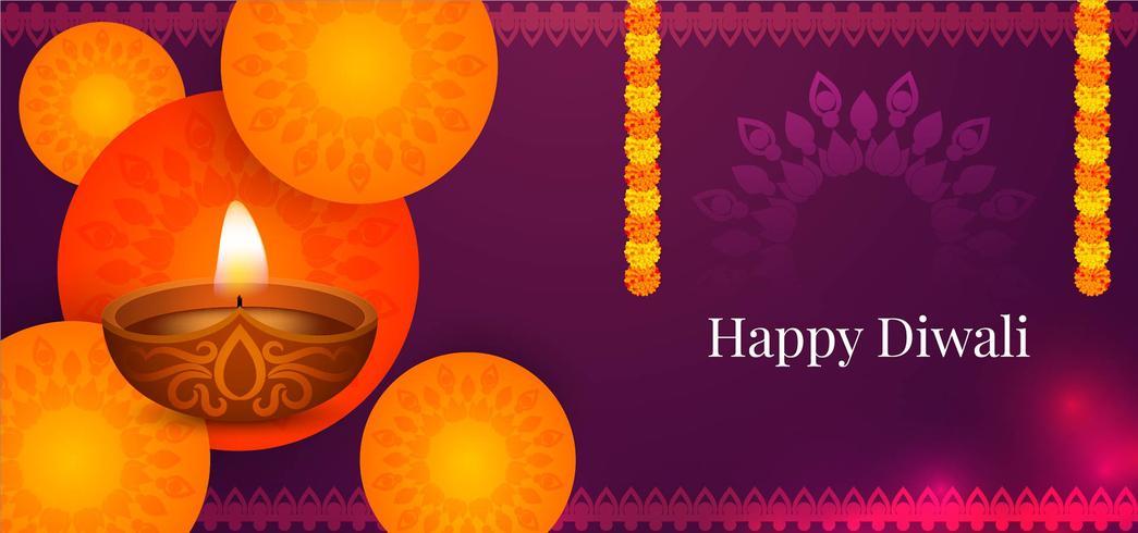 Bandiera di saluto felice Diwali vettore