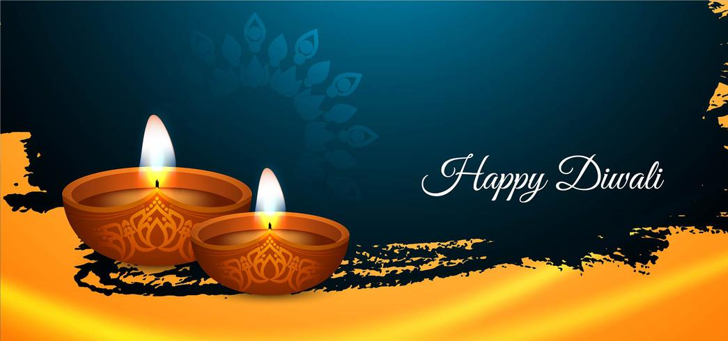 Bandiera festiva variopinta felice di Diwali vettore