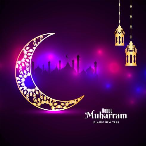 design del festival Happy Muharran viola incandescente vettore