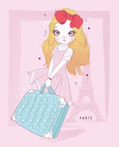 Valigia sveglia disegnata a mano della tenuta della ragazza a Parigi con tipografia vettore