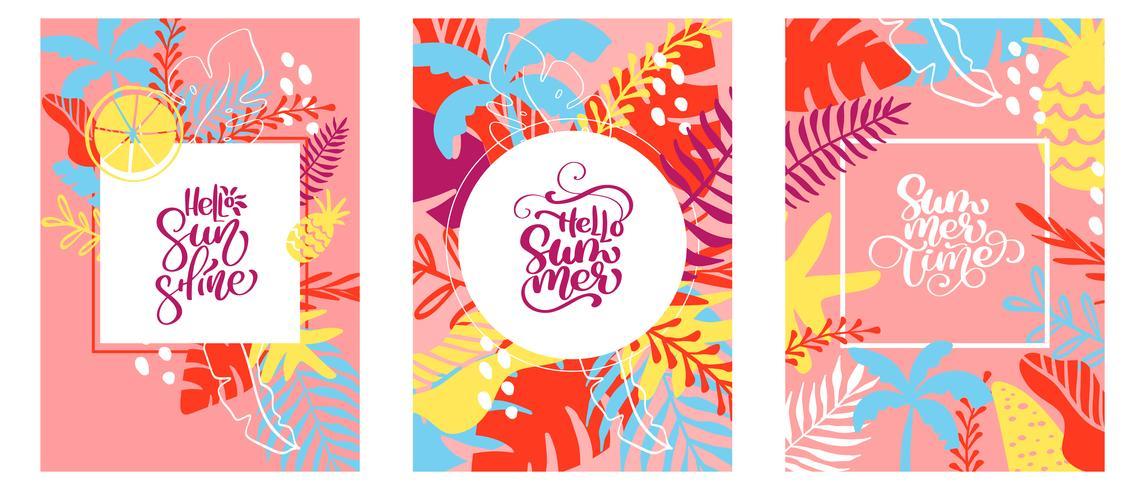 Tre cartoline d'auguri con testo nella cornice di foglie floreali tropicali vettore