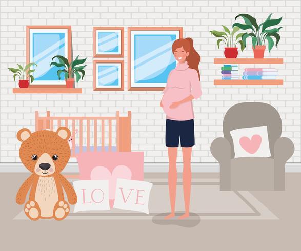 Donna incinta nella scena della camera da letto del bambino vettore