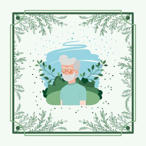 Carta di uomo anziano con cornice a base di erbe vettore