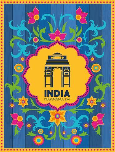 tempio del cancello indiano con sfondo floreale vettore
