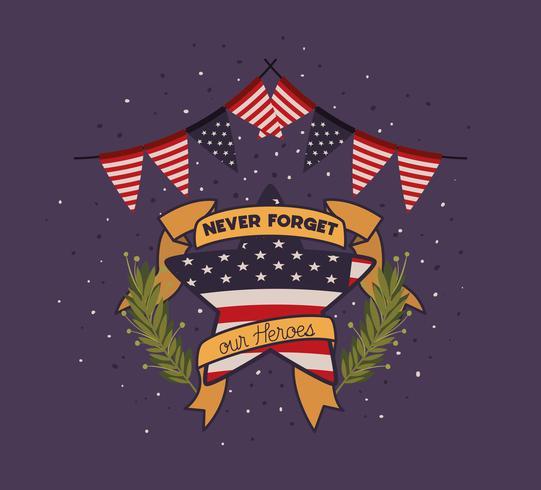corona e bandiera degli Stati Uniti dell'emblema del Giorno dei Caduti vettore
