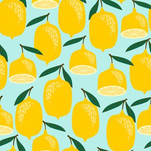 Modello di limoni su sfondo blu vettore