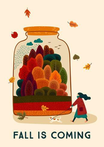 L'autunno arriva con una donna e un cane carini. Disegno vettoriale