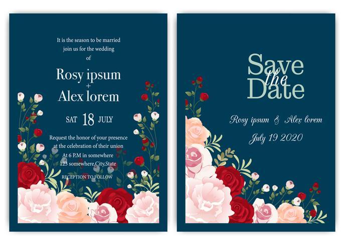 carta di invito di nozze con fiori colorati e foglie. vettore